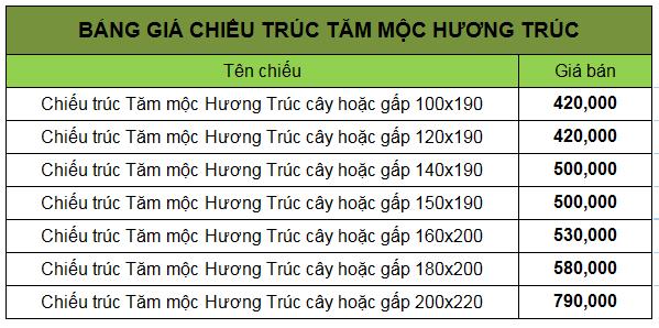 Bảng giá chiếu trúc tăm mộc Hương Trúc