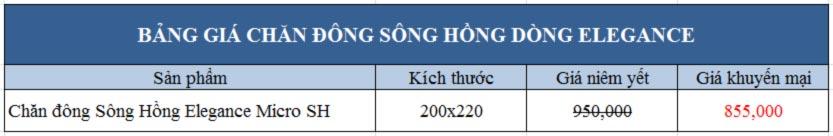 Bảng giá chăn đông Sông Hồng Elegance