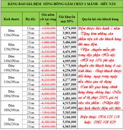 Bảng giá khuyến mãi đệm bông ép siêu nảy Sông Hồng 2 mảnh