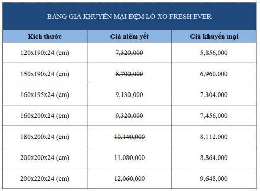 Bảng giá khuyến mãi đệm lò xo Hanvico Fresh Ever 24cm chính hãng