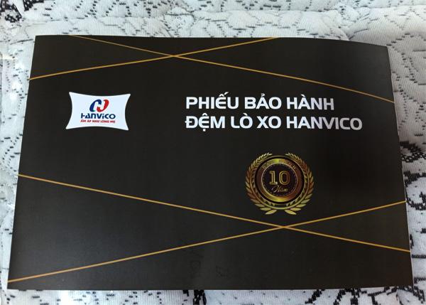 Phiếu bảo hành chính hãng đệm lò xo Hanvico