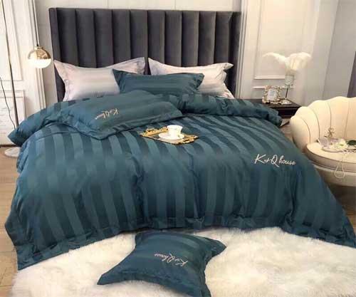 Bộ chăn ga gối khách sạn cotton kẻ sọc K & Q mã KQ03